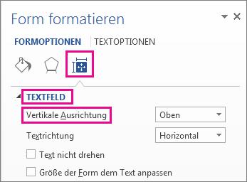 """Auswählen der vertikalen Ausrichtung im Bereich """"Form formatieren"""""""