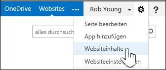 'Websiteinhalte' auswählen im Optionenmenü (Zahnrad) auf der Seite 'Über mich'