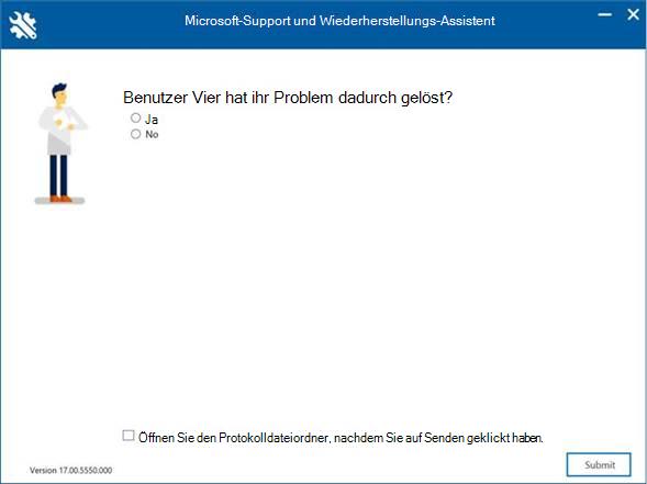 Microsoft Support- und Wiederherstellungs-Assistent-Fenster fragt – <User>, hat dies das Problem gelöst?