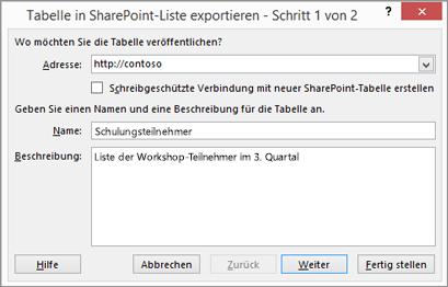 Dialogfeld im Assistenten zum Exportieren nach SharePoint
