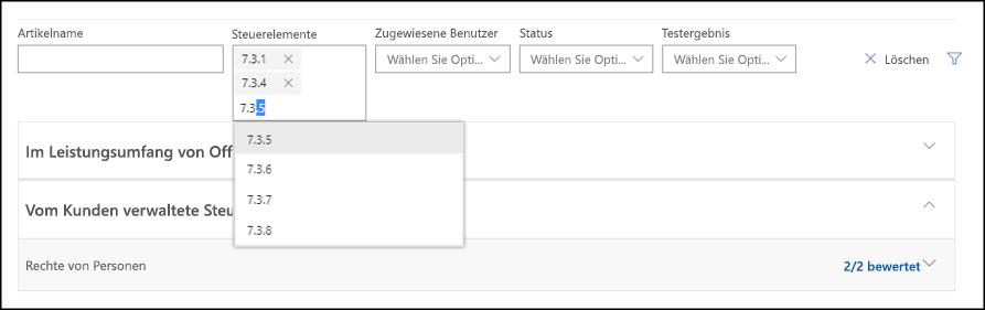 """Ansicht """"Compliance-Manager-Bewertung"""" – Filtersteuerelement für Mehrfachauswahl"""