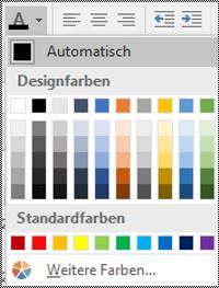 """Menü """"Schriftfarbe"""" in Excel für Windows Desktop."""