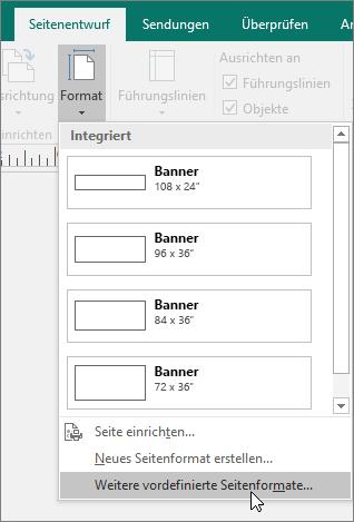 """Screenshot der Option für weitere Formate von voreingestellten Seiten auf der Registerkarte """"Seitenentwurf"""" in Publisher."""