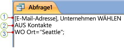 Registerkarte eines SQL-Objekts mit einer SELECT-Anweisung