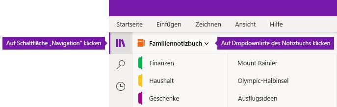 Erweitern der Liste der Notizbücher in OneNote für Windows 10