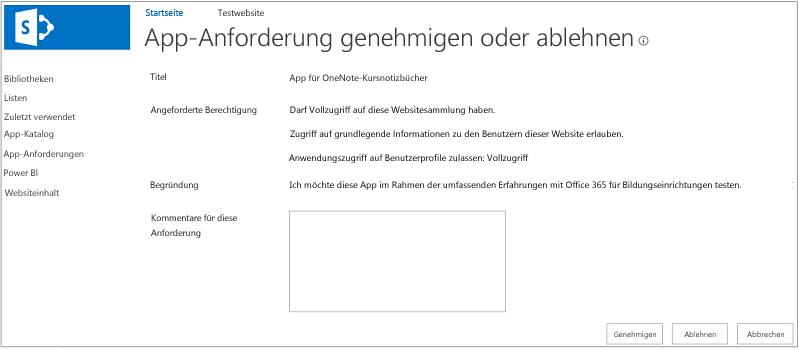 Screenshot des Dialogfelds zum Genehmigen oder Ablehnen von App-Anforderungen