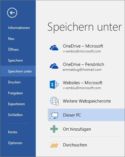 """Die Optionen für """"Speichern unter"""" werden nach dem Klicken auf """"Dieser PC"""" angezeigt."""