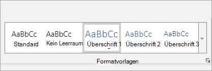 Katalog der Word Online-Formatvorlagen