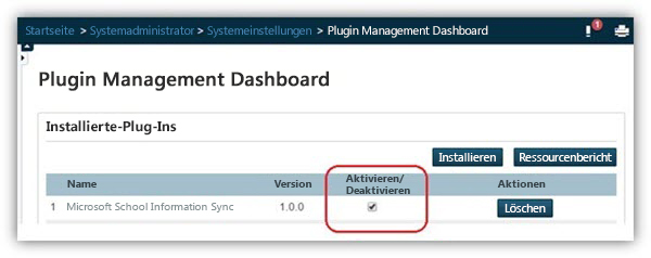 """Stellen Sie auf der Seite """"Plugin Management Dashboard"""" sicher, dass das Plug-In aktiviert ist."""