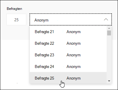 Geben Sie eine bestimmte Nummer in das Suchfeld ein, um die Details der Antwort dieses einzelnen in Microsoft Forms anzuzeigen.
