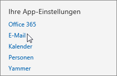 "Screenshot des Abschnitts ""Ihre App-Einstellungen"" der Einstellungen in Outlook Web App, in dem der Cursor auf die Option ""E-Mail"" zeigt."