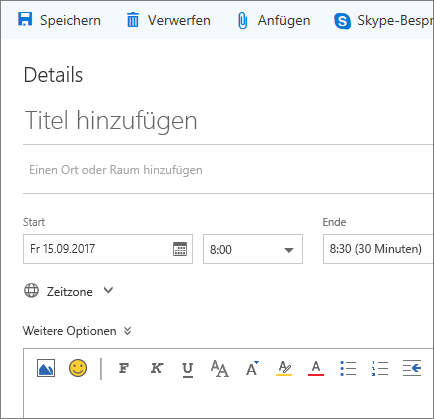 Screenshot des Bereichs für ein neues Kalenderereignis