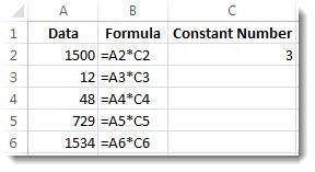 Daten in Spalte A, Formeln in Spalte B und die Zahl 3 in Zelle C2