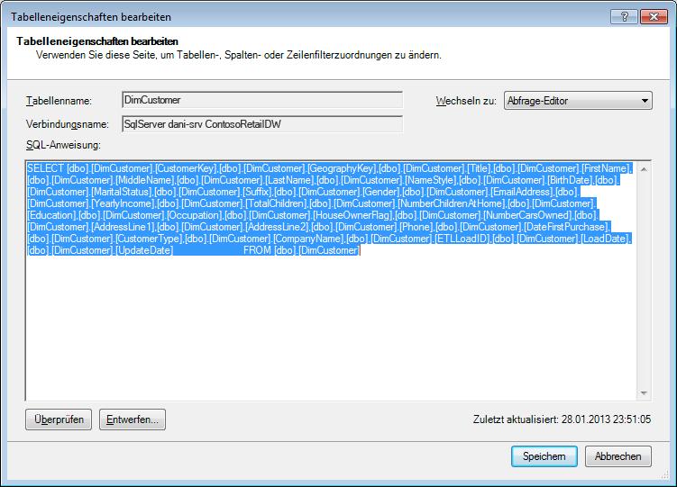 Zum Abrufen der Daten verwendete SQL-Abfrage