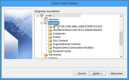 """Wenn Sie Google Gmail-Kontakte in Ihr Office 365-Postfach importieren, wählen Sie """"Contacts"""" als Ziel aus."""