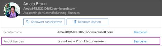 Der Screenshot zeigt Informationen für den Benutzer Allie Bellew. Dem Bereich für Produktlizenzen ist zu entnehmen, dass für den Benutzer keine Produkte zugewiesen wurden, und die Option zum Bearbeiten ist verfügbar.