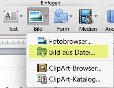"""Klicken Sie auf der Registerkarte """"Start"""" des Menübands unter """"Einfügen"""" auf """"Bild"""" > """"Bild aus Datei""""."""