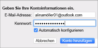 Hinzufügen eines E-Mail-Kontos