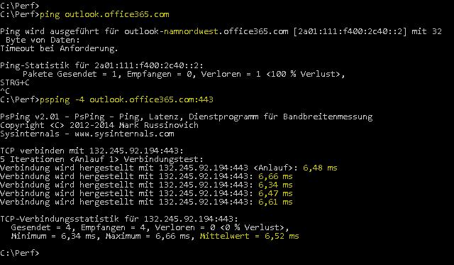 Screenshot, der einen Ping zeigt, der outlook.office365.com auflöst, und einen PSPing mit Port 443, der dasselbe tut, jedoch eine mittlere RTT von 6,5 ms zurückmeldet.
