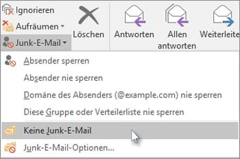 Auf 'Junk-E-Mail' klicken, nicht auf 'Keine Junk-E-Mail'