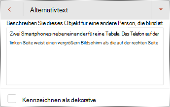 """Dialogfeld """"Alternativtext"""" für ein Bild in PowerPoint für Android."""