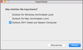 """Importbildschirm mit ausgewählter Option """"Outlook 2011-Daten auf diesem Computer"""""""