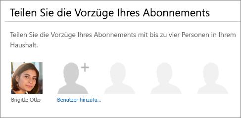 """Screenshot des Abschnitts """"Ihre Abonnementvorteile teilen"""" auf der Seite """"Office 365 teilen"""", in dem der Link """"Benutzer hinzufügen"""" angezeigt wird"""