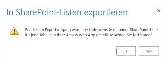"""Screenshot des Bestätigungsdialogfelds. Durch Klicken auf """"Ja"""" werden die Daten in SharePoint-Listen exportiert, und durch Klicken auf """"Nein"""" wird der Export abgebrochen."""