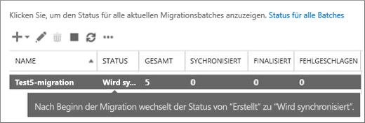 Migrationsbatch wird synchronisiert