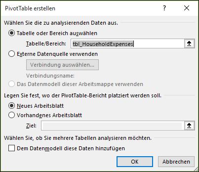 Excel: Einfügen > PivotChart-Optionen