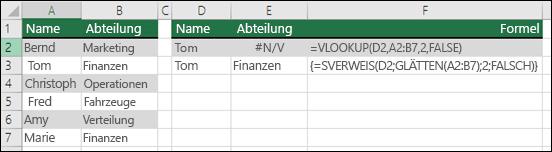 Verwenden von SVERWEIS mit GLÄTTEN in einer Matrixformel, um führende/nachgestellte Leerzeichen zu entfernen  Die Formel in Zelle E3 lautet {=SVERWEIS(D2;GLÄTTEN(A2:B7);2;FALSCH)} und muss mit STRG+UMSCHALT+EINGABETASTE eingegeben werden.