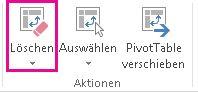 Schaltfläche 'Löschen' auf der Registerkarte 'Analysieren'