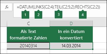 Konvertieren von Textzeichenfolgen und Zahlen in Datumswerte