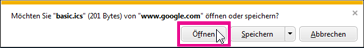 Google Calendar - Kalender in Internet Explorer öffnen