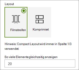 Layout-Auswahl im Eigenschaftenbereich des Ereignis-Webparts