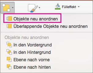 """""""Objekte neu anordnen"""" im Menü """"Anordnen"""""""