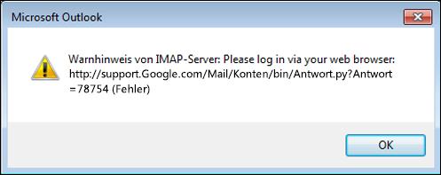 """Wenn die Fehlermeldung """"Warnhinweis von IMAP-Server: ..."""" angezeigt wird, überprüfen Sie, dass Sie in Gmail den Wert für """"Weniger sichere Einstellungen zulassen"""" auf """"Ein"""" festgelegt haben, damit Outlook auf Ihre Nachrichten zugreifen kann."""