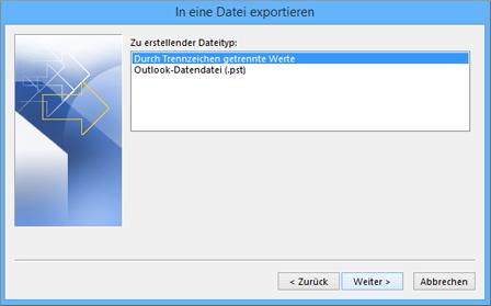 Outlook-Export-Assistent – CSV-Datei auswählen