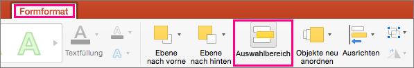 """Zeigt die Registerkarte """"Formformat"""" in PowerPoint 2016 für Mac"""