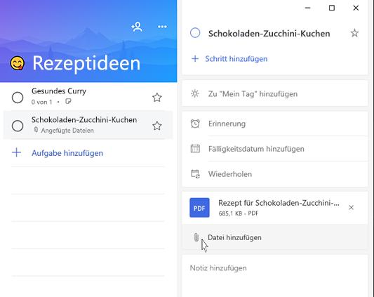 Screenshot von Microsoft to-do mit geöffneter Detailansicht und der Option zum Hinzufügen einer Datei hervorgehoben