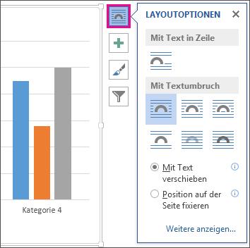 Abbildung von Layoutoptionen für Diagramme in Word