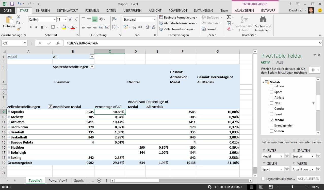 In der PivotTable werden prozentuale Daten angezeigt.