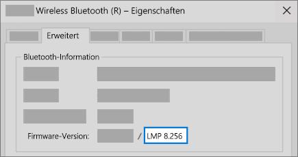 """Feld """"Bluetooth LMP-Version"""" auf der Registerkarte """"Erweitert"""" im Geräte-Manager."""