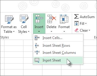 Klicken Sie auf der Registerkarte 'Start' unter 'Einfügen' auf 'Blatt einfügen'