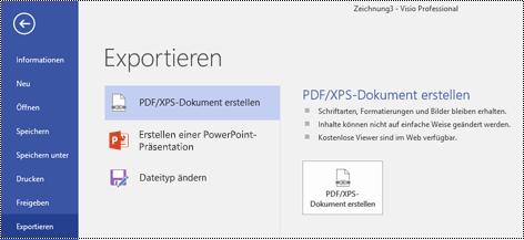 """Option """"In PDF exportieren""""  aus der Registerkarte """"Datei"""" in Visio."""