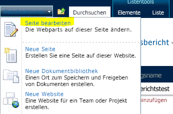 Befehl 'Seite bearbeiten' im Menü 'Websiteaktionen'