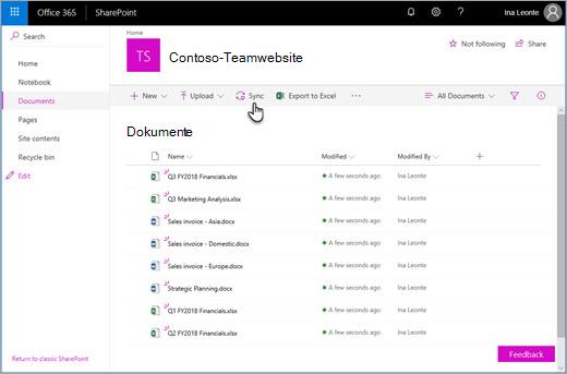 Office 365 SharePoint - Synchronisieren von Dateien