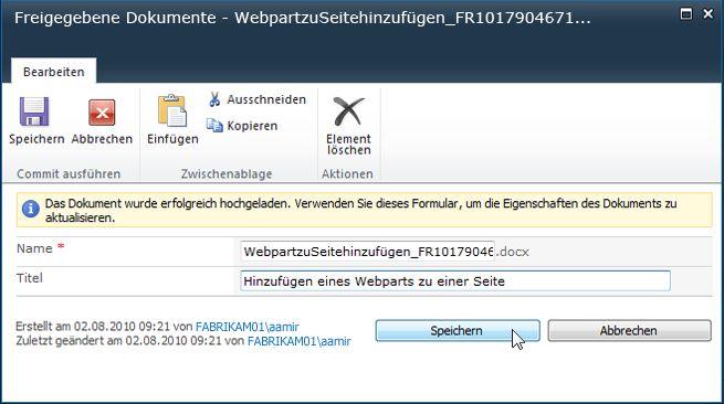 Webpart hinzufügen