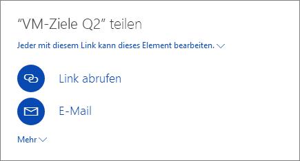 Screenshot, der zeigt, wie eine Datei auf OneDrive freigegeben wird