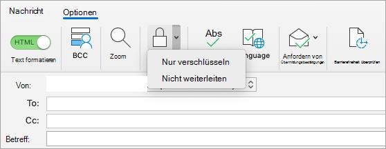 """Schaltfläche """"verSchlüsseln"""" in einer e-Mail-Nachricht"""